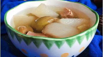清热化痰、养血生肌的青橄榄雪梨汤