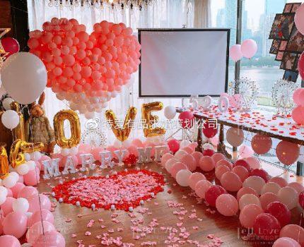 七夕情人节民宿求婚布置方案,七夕节民宿求婚气球布置