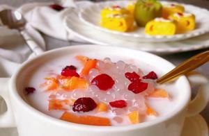 天热吃什么好?清清凉凉的木瓜西米露呀,颜值高味道好你一定喜欢