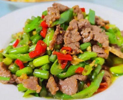 美食家常菜推荐:蒜苔小炒牛肉,西红柿辣椒炒豆角,空心菜梗炒肉